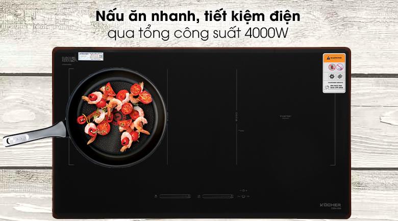 Bếp từ đôi Kocher DIB4-888 - Rút ngắn thời gian nấu với tổng công suất lớn 4000W