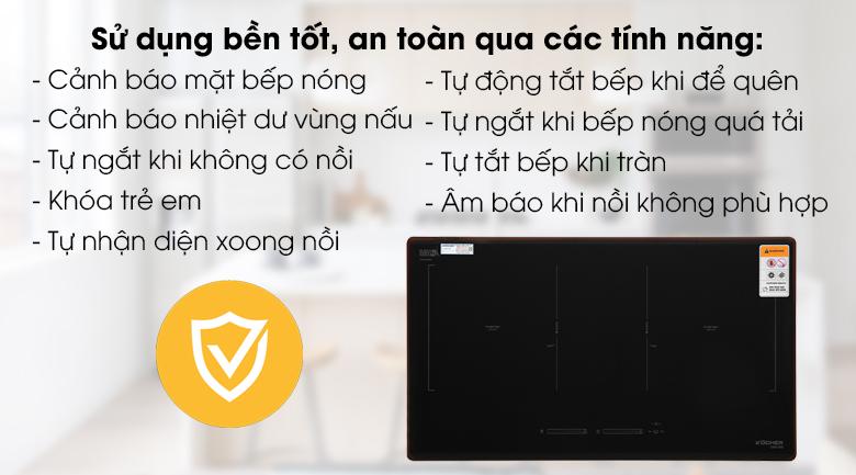 Bếp từ đôi Kocher DIB4-888 - Bảo vệ cho người dùng và thiết bị hiệu quả cùng các tính năng an toàn