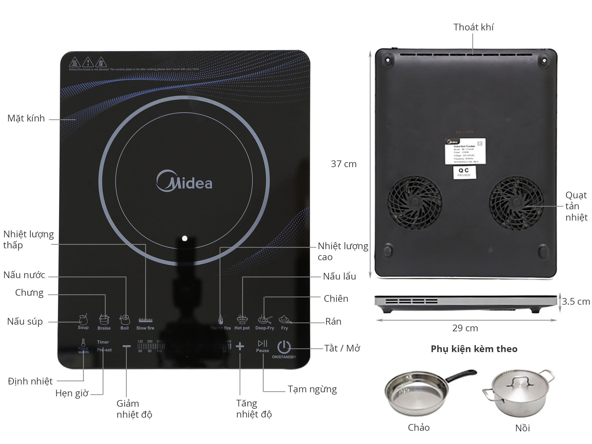 Thông số kỹ thuật Bếp từ Midea MI-T2112DA
