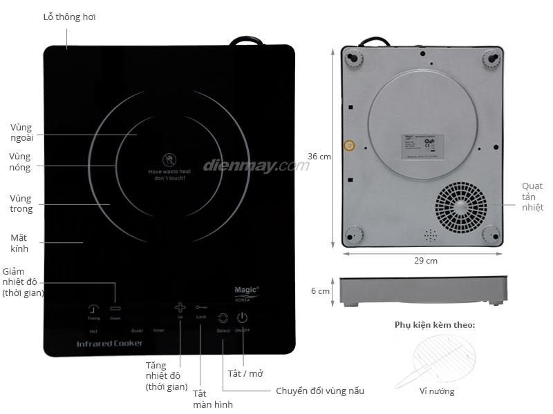 Thông số kỹ thuật Bếp hồng ngoại Magic A36