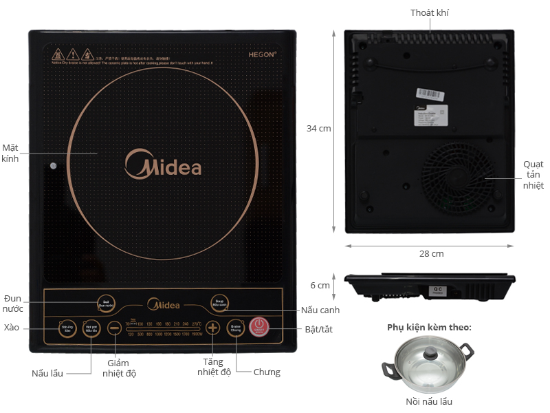 Thông số kỹ thuật Bếp từ Midea MI-SV19EH