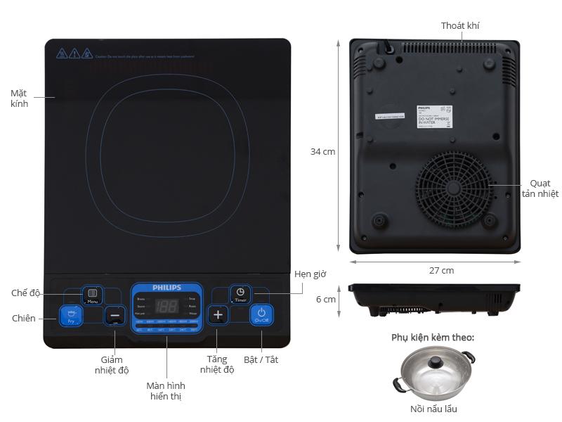 Thông số kỹ thuật Bếp từ Philips HD4921