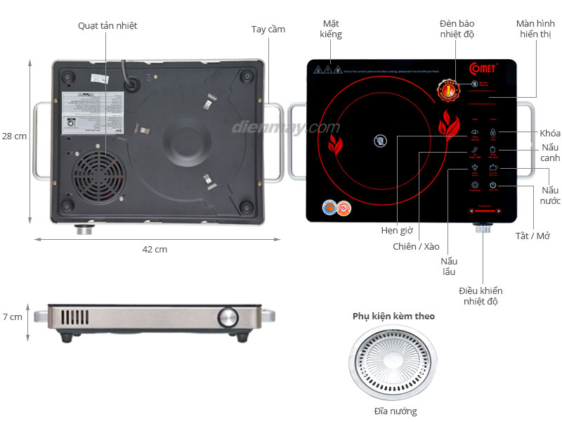 Thông số kỹ thuật Bếp hồng ngoại Comet CM5558