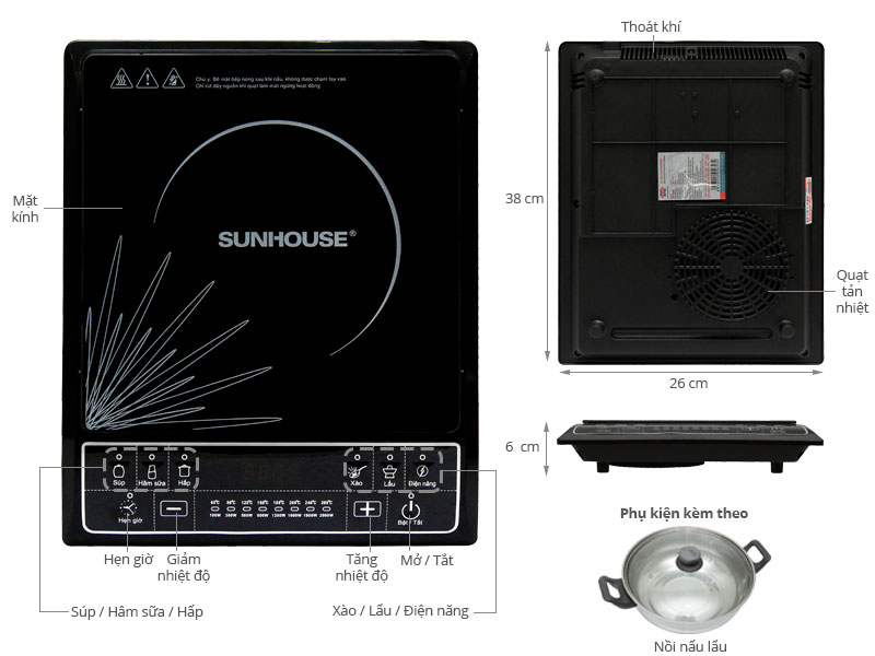 Thông số kỹ thuật Bếp từ Sunhouse SHD6145