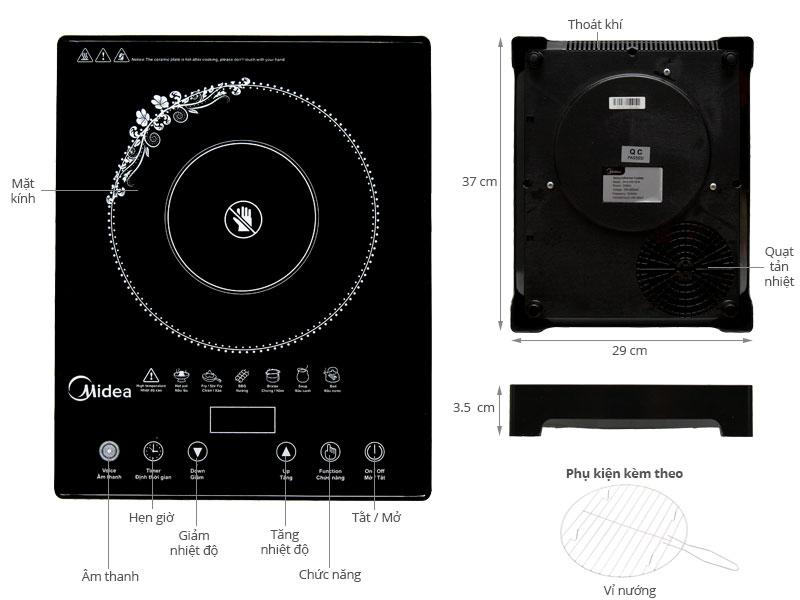 Thông số kỹ thuật Bếp hồng ngoại Midea MIR-T2013DA