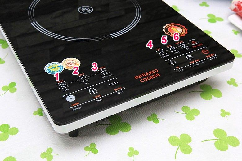 Tiện lợi với 6 chế độ nấu thông minh và nút tăng chỉnh nhiệt độ bếp