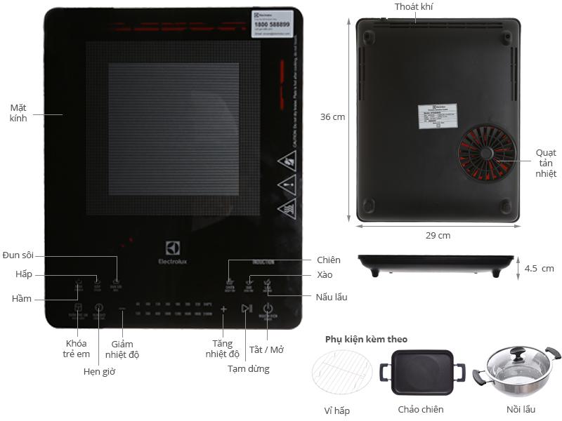 Thông số kỹ thuật Bếp từ Electrolux ETD42SKS