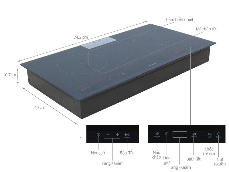 Thông số kỹ thuật Bếp từ Panasonic KY-A227D