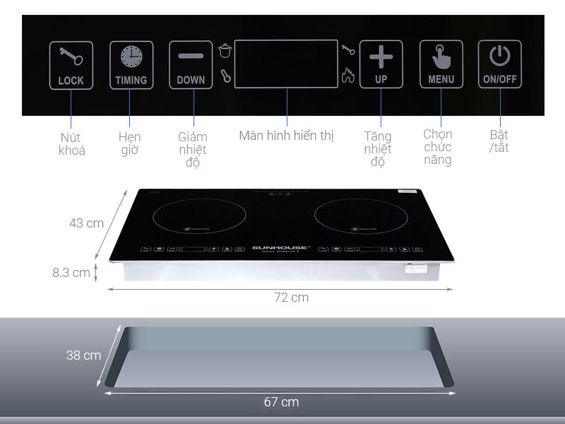 Thông số kỹ thuật Bếp từ đôi Sunhouse SHB9108-S