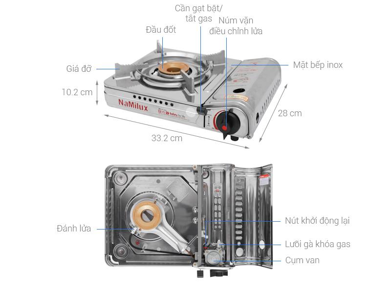 Thông số kỹ thuật Bếp gas mini Namilux NH-054AS