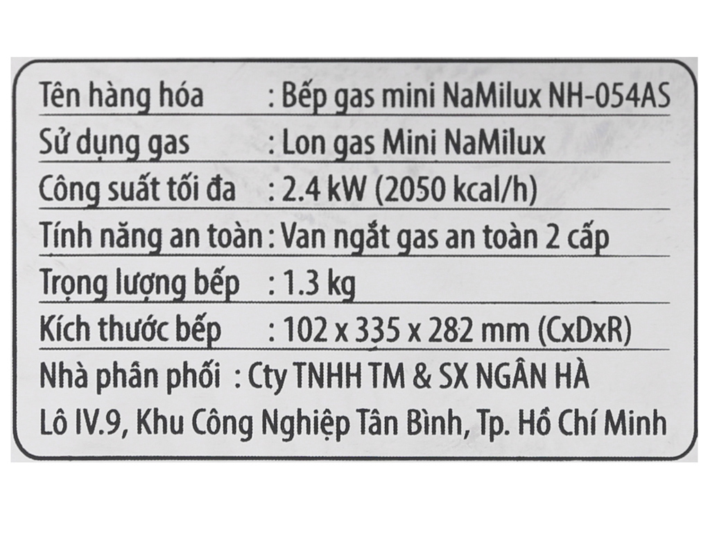 Bếp gas mini Namilux NH-054AS 8