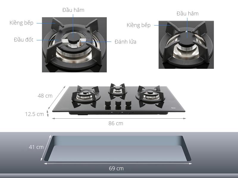 Thông số kỹ thuật Bếp ga âm Teka GT LUX 86 3G