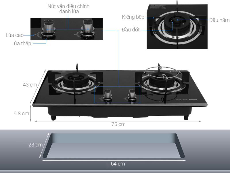 Thông số kỹ thuật Bếp ga âm Sakura SG-2568GB
