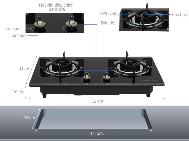 Thông số kỹ thuật Bếp gas âm Sakura SG-2530GB