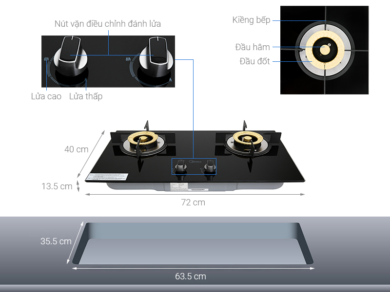 Thông số kỹ thuật Bếp ga âm Midea MQ7208-G