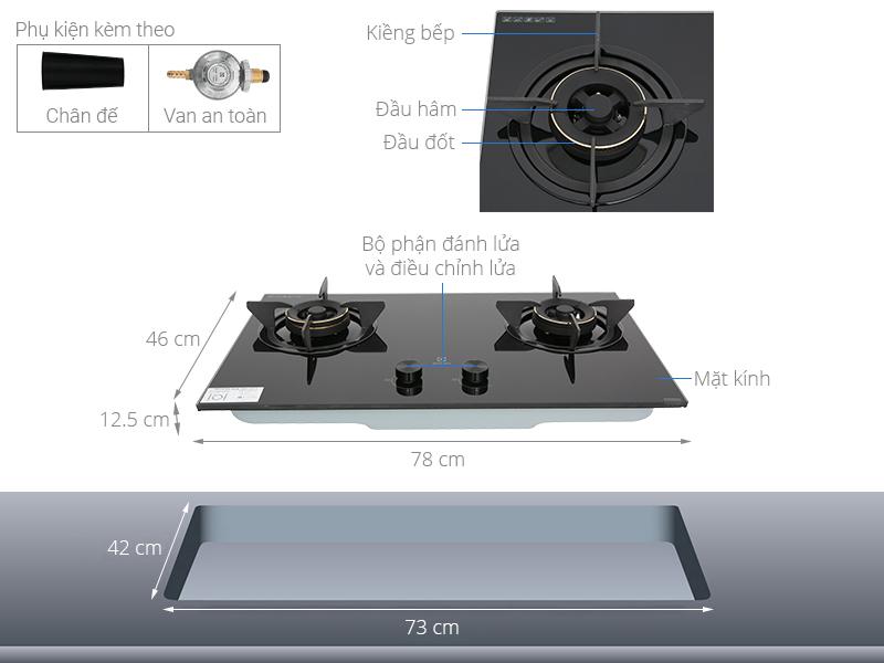 Thông số kỹ thuật Bếp ga âm Electrolux EHG7230BE