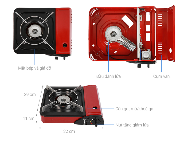 Thông số kỹ thuật Bếp ga mini Duxton DG-150