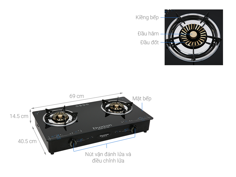 Thông số kỹ thuật Bếp ga đôi Duxton DG-740