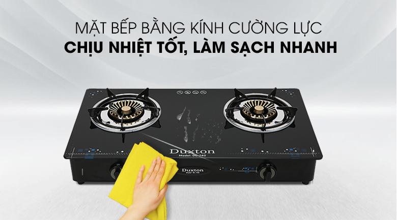 Mặt bếp bằng kính cường lực chịu nhiệt tốt - Bếp gas đôi Duxton DG-740
