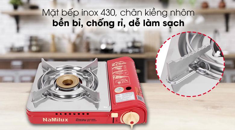 Bếp gas mini Namilux NH-P2915PS - Mặt bếp bằng inox 430 bóng loáng