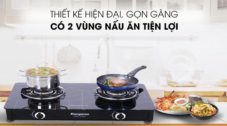 Thiết kế 2 vùng nấu - Bếp ga đôi Kangaroo KG526M