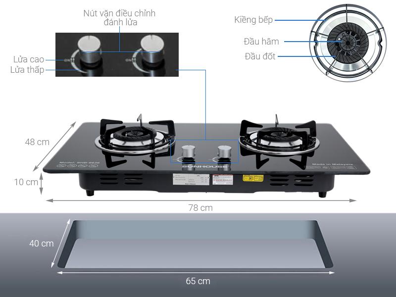 Thông số kỹ thuật Bếp gas âm Sunhouse SHB-6636