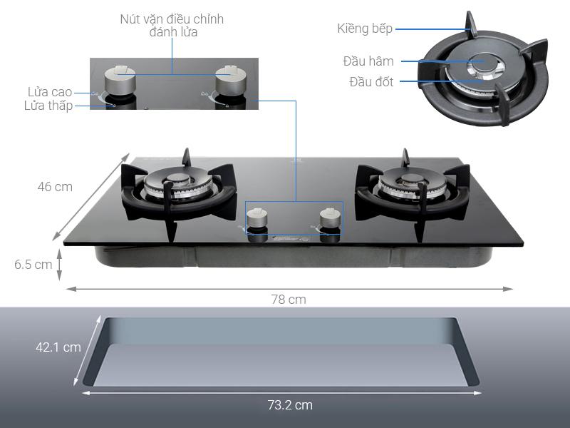 Thông số kỹ thuật Bếp ga âm Electrolux EGT7627CK