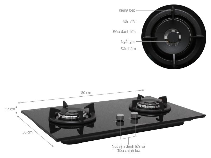 Thông số kỹ thuật Bếp gas âm Electrolux EGT8028CK