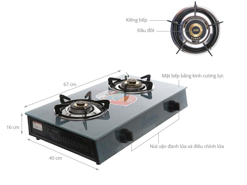Thông số kỹ thuật Bếp gas Sunhouse Apex APB3550S