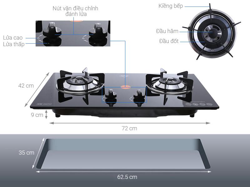Thông số kỹ thuật Bếp ga âm Kiwa KW-2607G