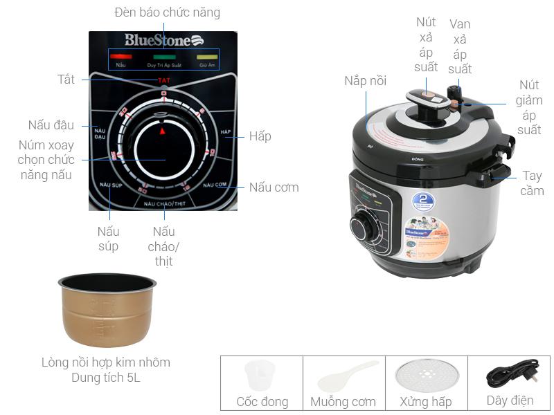 Thông số kỹ thuật Nồi áp suất điện BlueStone PCB-5619 5 lít