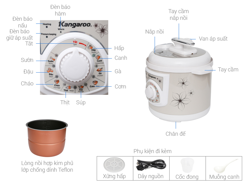 Thông số kỹ thuật Nồi áp suất điện Kangaroo KG286 6 lít