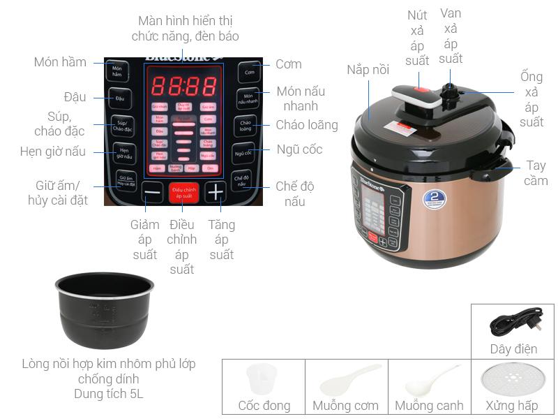 Thông số kỹ thuật Nồi áp suất điện Bluestone PCB-5753 5 lít