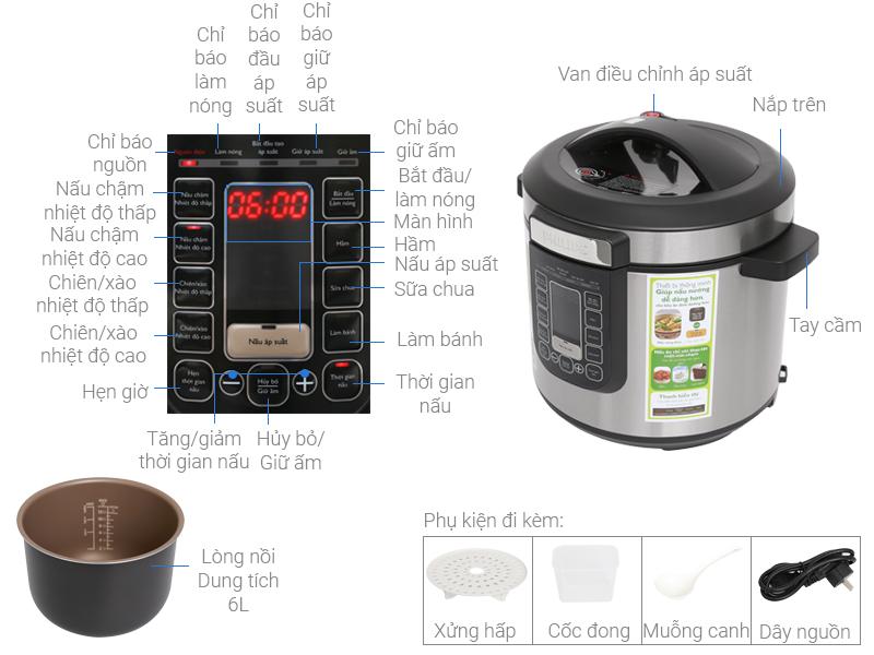 Thông số kỹ thuật Nồi áp suất điện Philips HD2137/65 6 lít