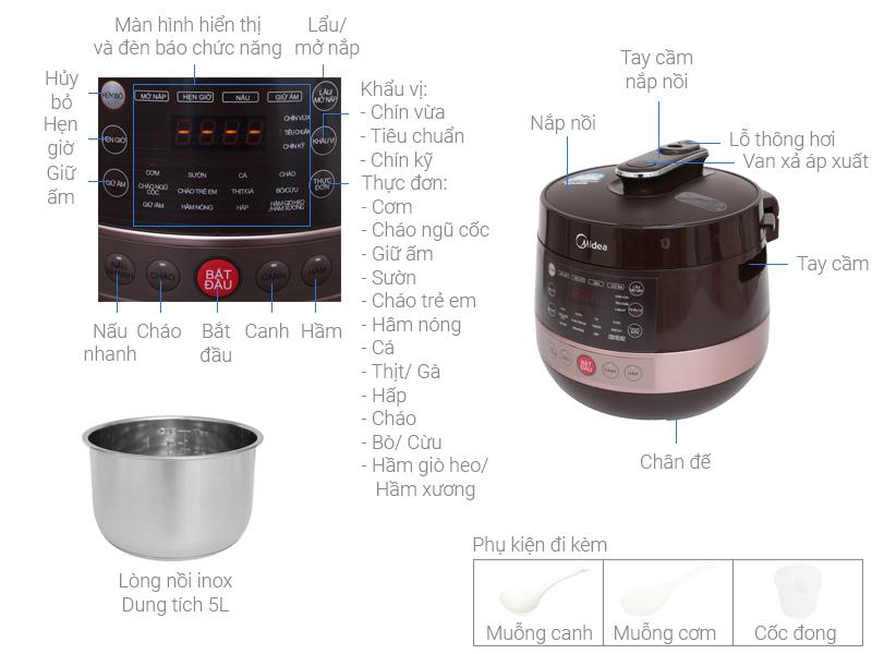 Thông số kỹ thuật Nồi áp suất điện Midea MY-CS5039 5 lít