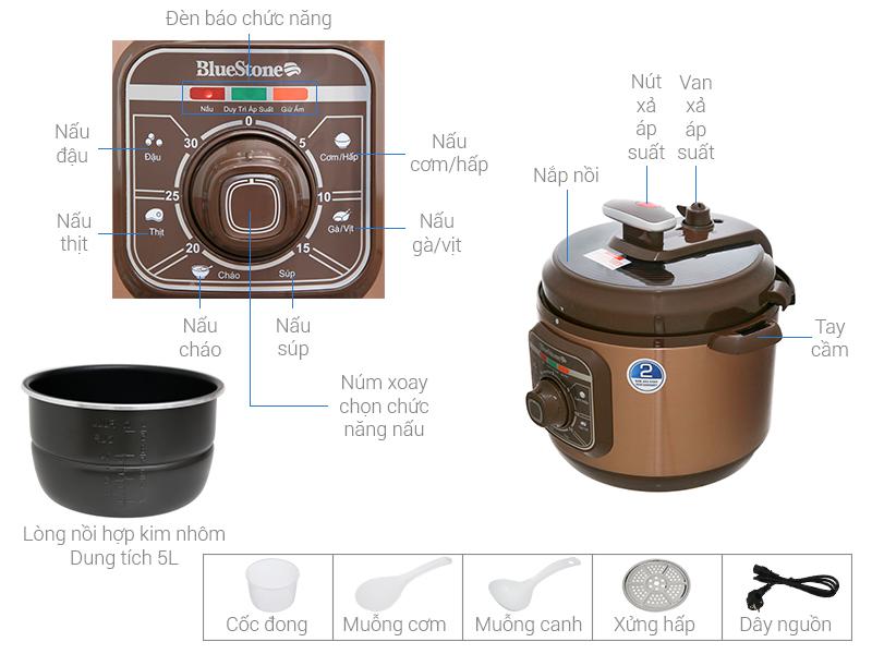 Thông số kỹ thuật Nồi áp suất điện Bluestone PCB-5629 5 lít