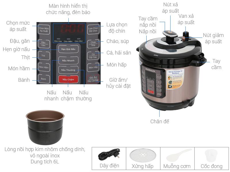 Thông số kỹ thuật Nồi áp suất điện Bluestone PCB-5755 6 lít