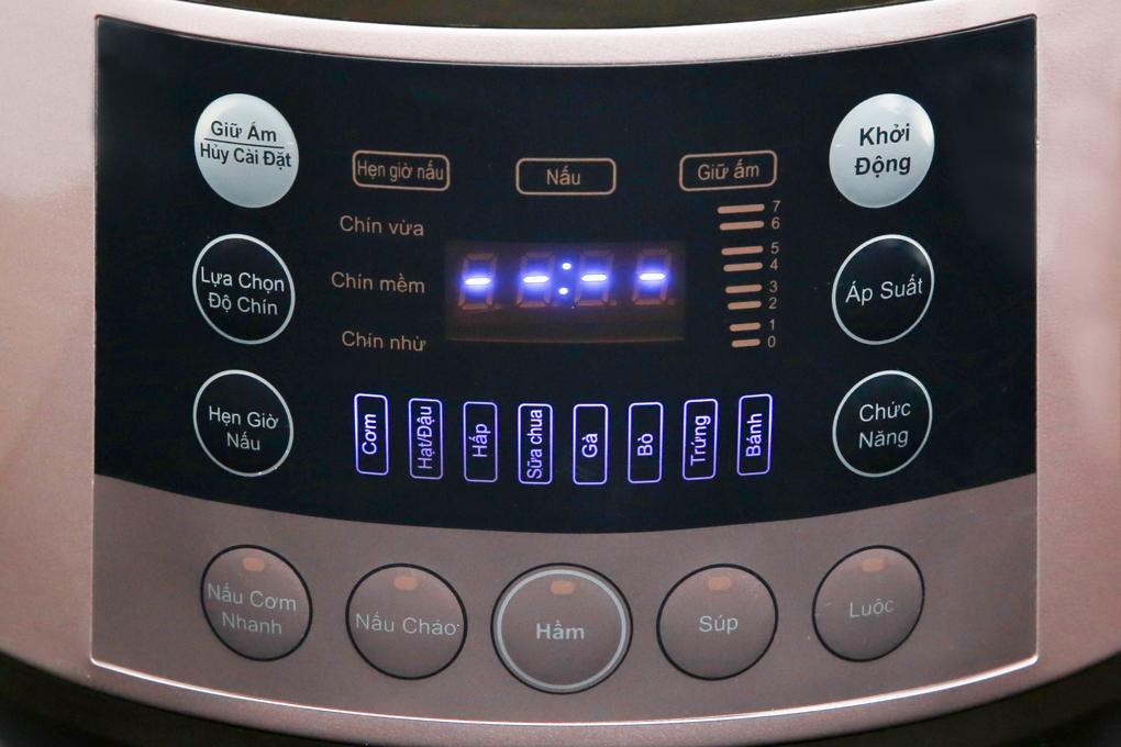 Bảng điều khiển nút nhấn điện tử có chỉ dẫn tiếng Việt dễ hiểu - Nồi áp suất Bluestone PCB-5763 6 lít