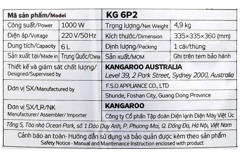 Nấu nhanh - Nồi áp suất Kangaroo KG6P2 6 lít