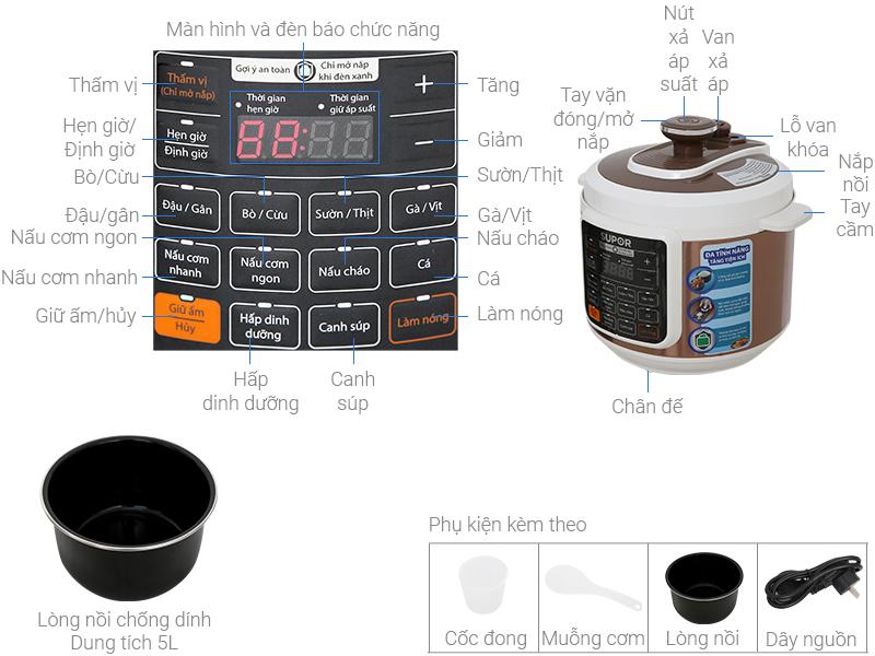 Thông số kỹ thuật Nồi áp suất điện Supor CYSB50YC10DVN-100 5 lít