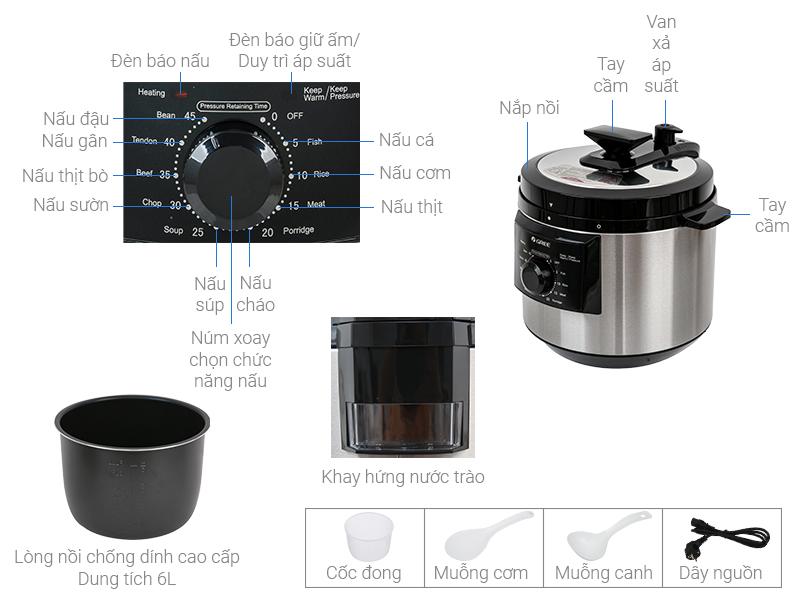 Thông số kỹ thuật Nồi áp suất Gree CYWK-6016 6 lít