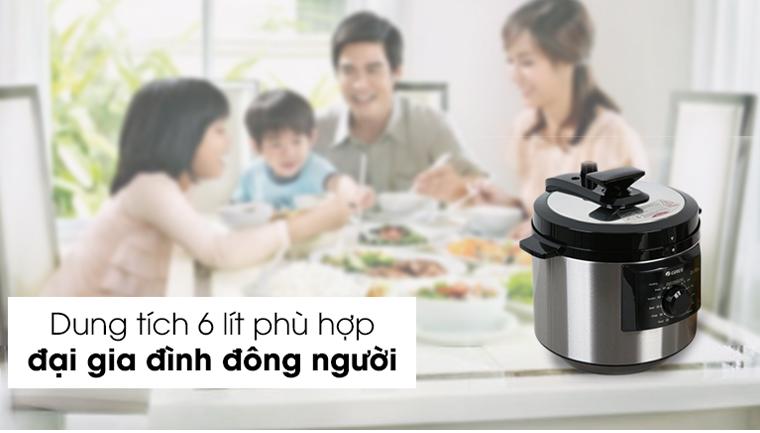 Dung tích 6L phù hợp cho gia đình đông người