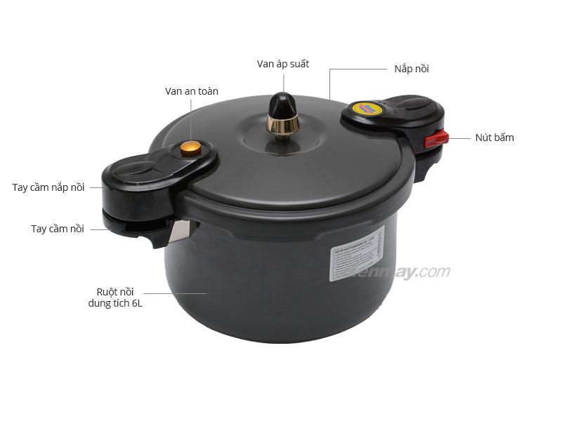Thông số kỹ thuật Nồi áp suất cơ Sunhouse LC600 6 lít