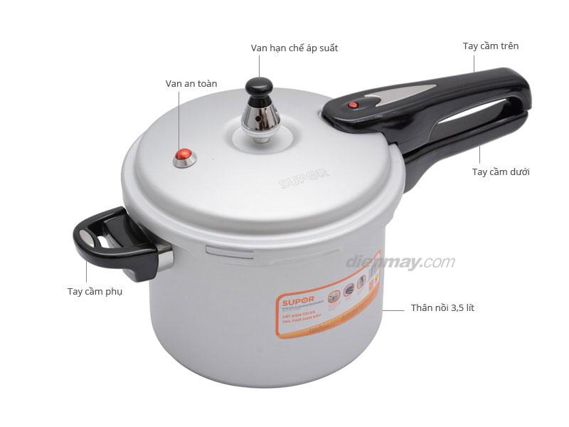 Thông số kỹ thuật Nồi áp suất cơ dùng được bếp từ Supor YL183F5 3.5 lít