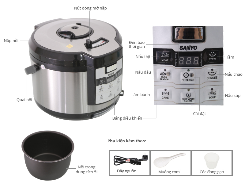 Thông số kỹ thuật Nồi áp suất điện Sanyo ECJ-JH9065D 5.0 lít