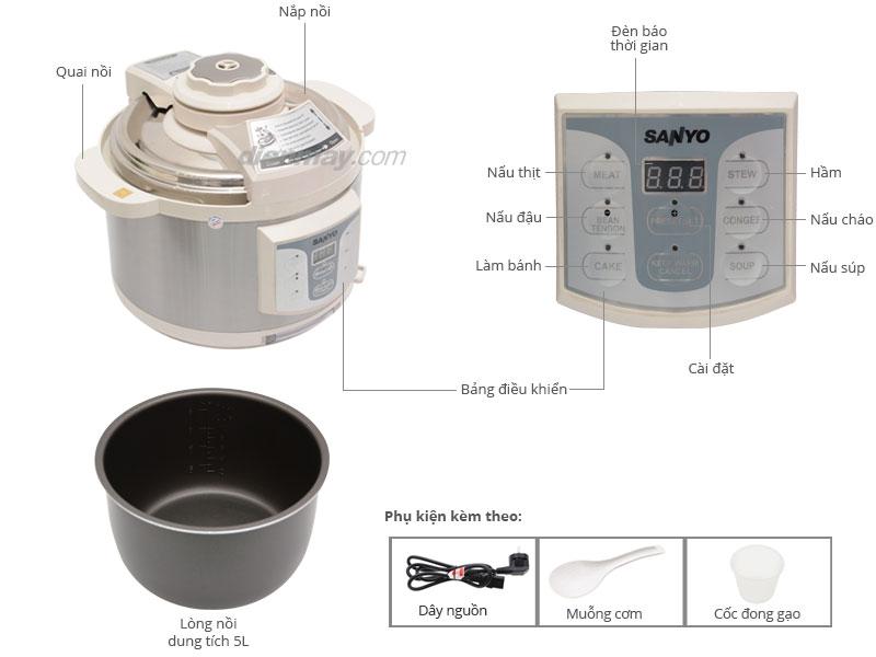 Thông số kỹ thuật Nồi áp suất điện Sanyo ECJ-JH9075D