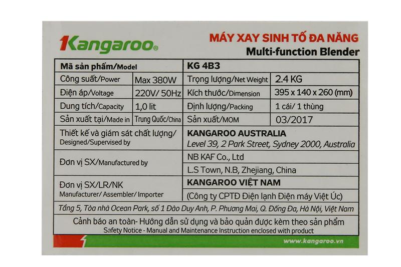 Công suất tốt - Máy xay sinh tố Kangaroo KG4B3