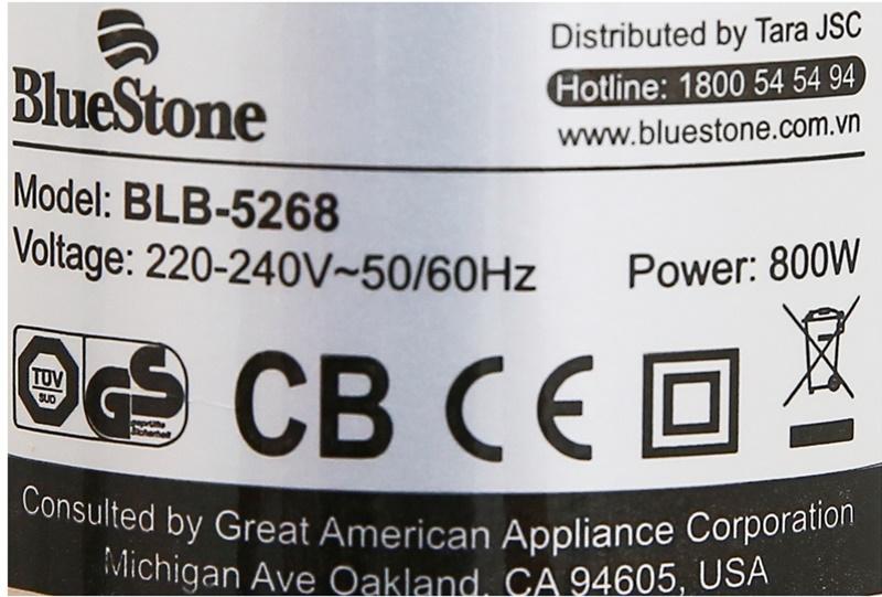 Xay nhuyễn mịn mọi nguyên liệu với công suất 800 W - Máy xay sinh tố cầm tay Bluestone BLB5268