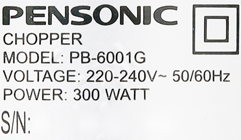 Công suất 300 W - Máy xay thịt Pensonic PB-6001G