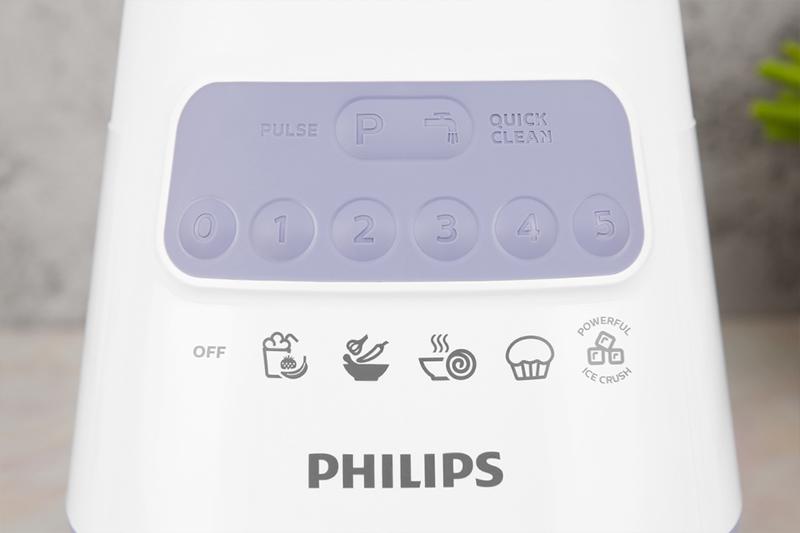 Máy xay sinh tố Philips HR2223/00 - Có 05 tốc độ xay và 1 nút nhồi